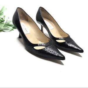 JIMMY CHOO | sz 5 1/2 black snakeskin kitten heels